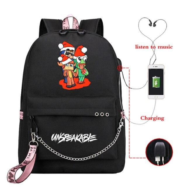 UNSPEAKABLE-Merch-Printed-Backpack-for-Teenage-Boy-Girl-USB-Charging-School-Bags-Canvas-Women-kjBackpacks-Travel
