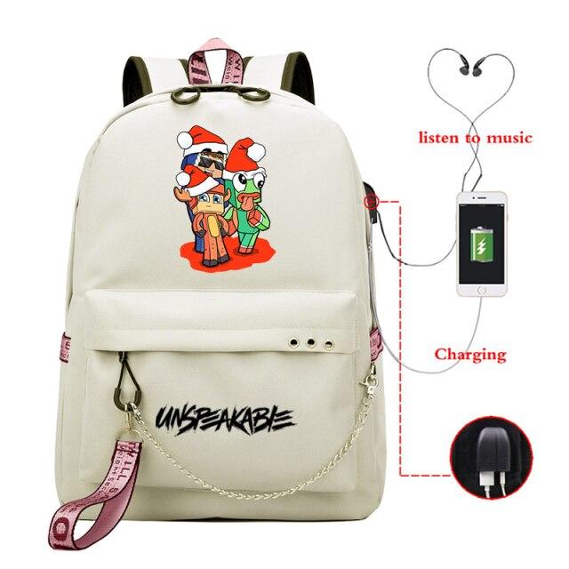 UNSPEAKABLE-Merch-Printed-Backpack-for-Teenage-Boy-Girl-USB-Charging-lkSchool-Bags-Canvas-Women-Backpacks-Travel